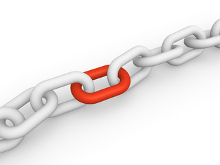 White chain with red link. 3d rendering.
