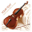 Classical cello on white background with musical notes
