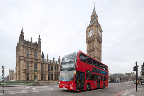 Big Ben with red double-decker in London, UK