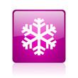 snowflake violet square web glossy icon