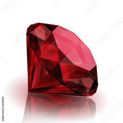 Realistic ruby on white background