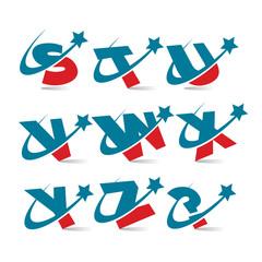 Swoosh Patriotic Alphabet Set 3