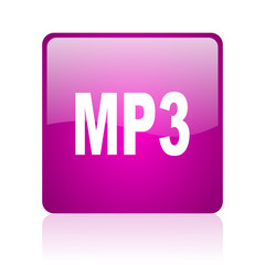 mp3 violet square web glossy icon