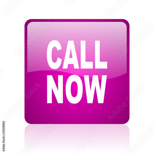 call now violet square web glossy icon