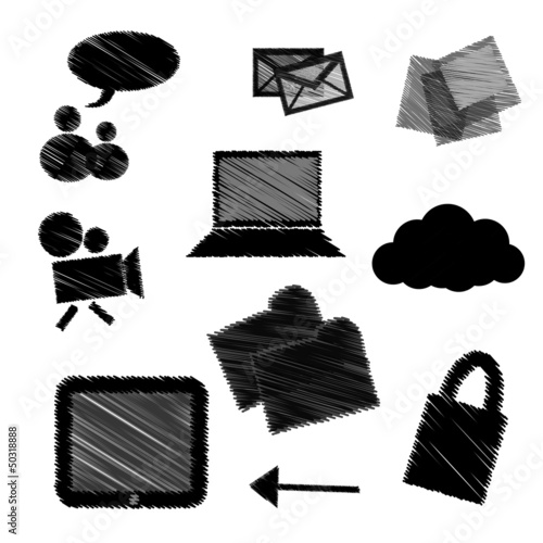 hand drawn Cloud computing concept. Vector illustration