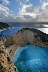 Navagio beach in Zakynthos island (Greece)