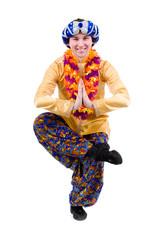 man doing yoga exercise in pose of namaste