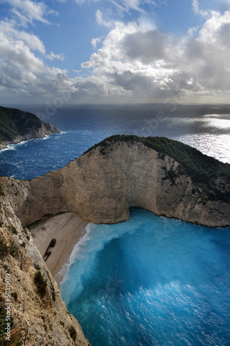 Navagio beach in Zakynthos island (Greece)