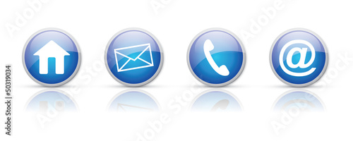 Blue rounded contact icons vector