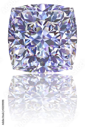 Square shaped diamond on glossy white