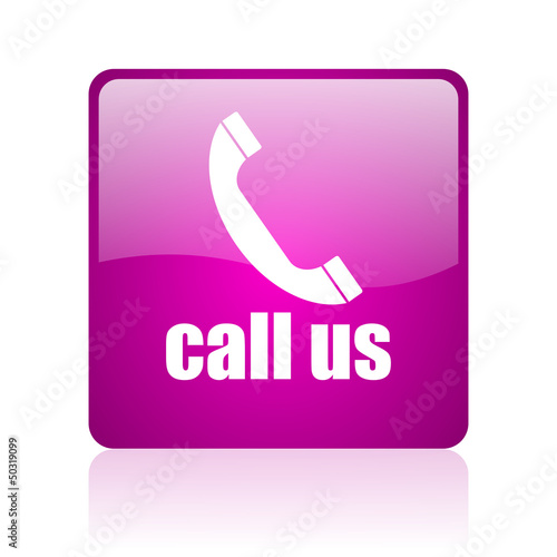 call us violet square web glossy icon