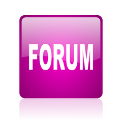 forum violet square web glossy icon