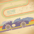 Grunge design template with retro car.