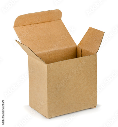 Empty open brown cardboard box