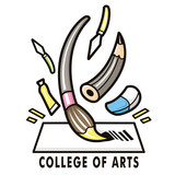 The feast of a variety of art tools. College of fine arts Mascot