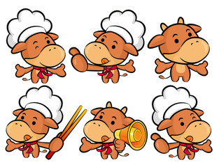 Flexibility as possible a set of Cook Cow Mascot. Food and Marke
