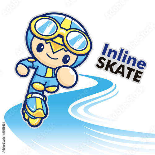 Inline skating boy Mascot. Sports Character Design Series.