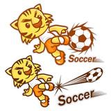 Football player kicking a powerful shot. Sports Character Design