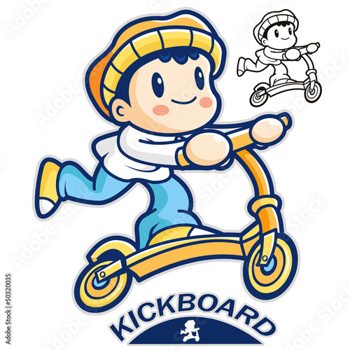 Entertain kids mascot riding Kickboards. Sports Character Design