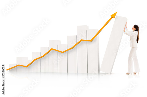 Business woman pushing a graph