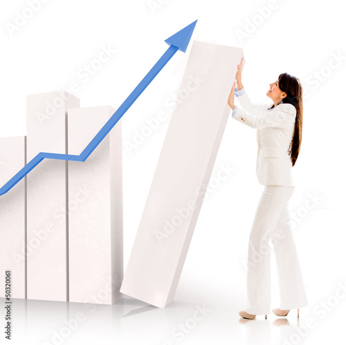 Successful business woman with a graph