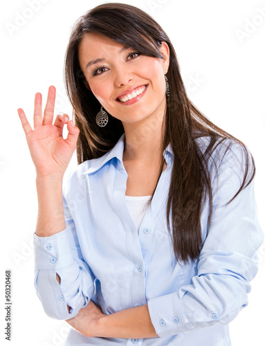 Business woman with an ok sign