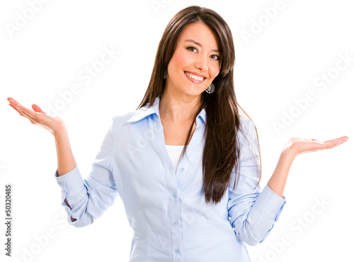 Business woman with arms open