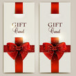 Gorgeous gift cards with red bows and copy space. Vector illustr
