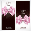 Gorgeous gift cards with pink bows and copy space. Vector illust