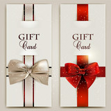 Gorgeous gift cards with bows and copy space. Vector illustratio