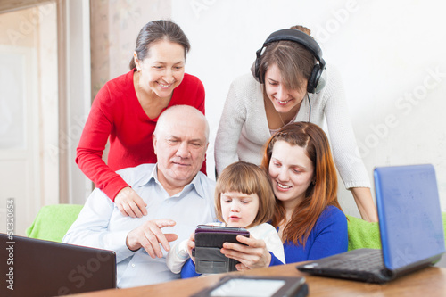 Happy  people  uses  various electronic devices in home
