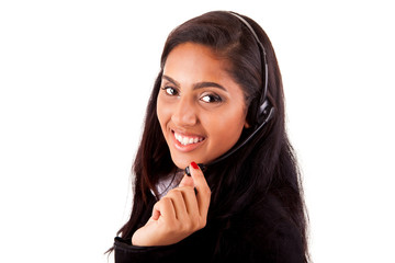 Portrait of a happy young mix race call center employee smiling