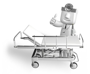 3d medical doctor in the hospital with metal bed