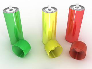 Colored cans on a white background №6