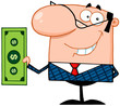 Smiling Business Manager Holding A Dollar Bill