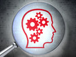 Information concept:  Head With Gears with optical glass