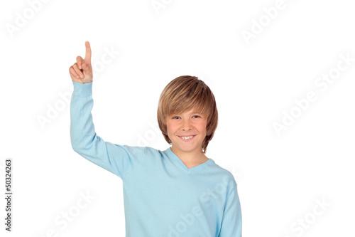 Happy preteen boy asking to speak
