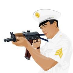 U.S. military with Russian gun