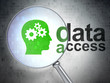Data concept: Head With Gears and Data Access with optical glass