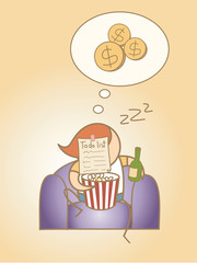 lazy man day dream rich cartoon character concept