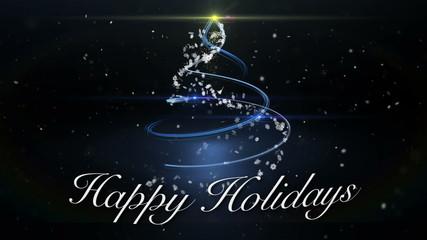 Happy Holidays Christmas Tree Animation Loop
