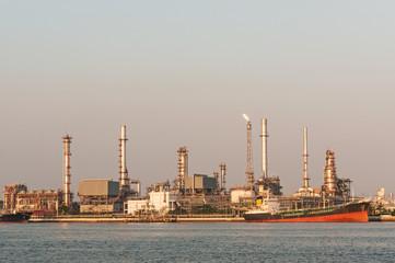 Oil refinery at twilight,Chao Phraya river, Thailand