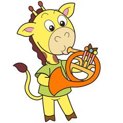Cartoon Giraffe Playing a French Horn