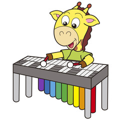 Cartoon Giraffe Playing a Vibraphone
