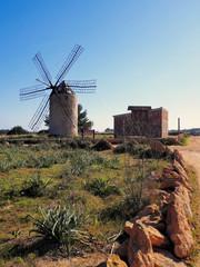 Windmill in el Pilar de la Mola, Formentera, Balearic Islands