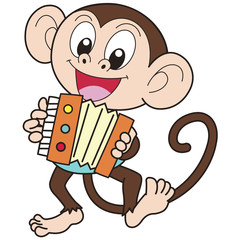 Cartoon Monkey Playing an Accordion
