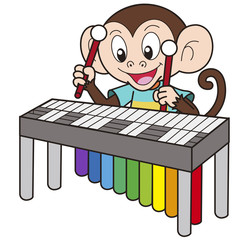 Cartoon Monkey Playing a Vibraphone