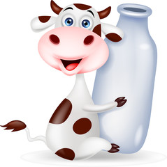 Cute cow cartoon with milk bottle