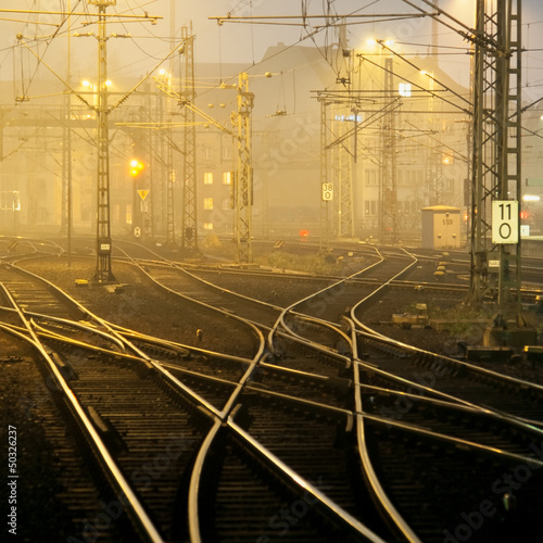 Confusing railway tracks at night