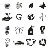 Ecology and recycle icons, vector set poster